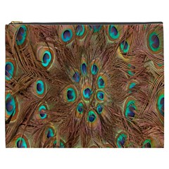 Peacock Pattern Background Cosmetic Bag (XXXL)