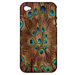 Peacock Pattern Background Apple iPhone 4/4S Hardshell Case (PC+Silicone)