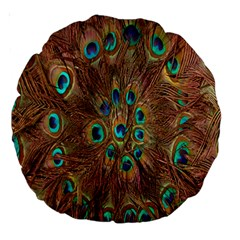 Peacock Pattern Background Large 18  Premium Round Cushions