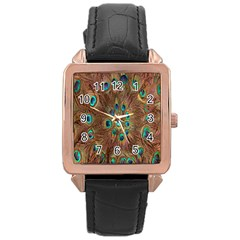 Peacock Pattern Background Rose Gold Leather Watch