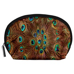 Peacock Pattern Background Accessory Pouches (Large)
