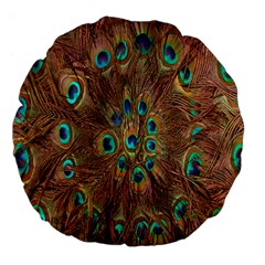 Peacock Pattern Background Large 18  Premium Flano Round Cushions
