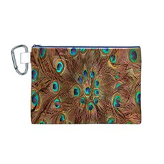 Peacock Pattern Background Canvas Cosmetic Bag (M)