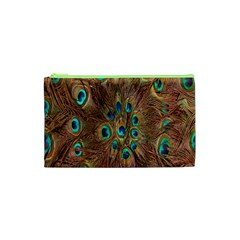 Peacock Pattern Background Cosmetic Bag (XS)