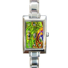 Glass Tile Peacock Feathers Rectangle Italian Charm Watch