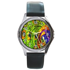 Glass Tile Peacock Feathers Round Metal Watch