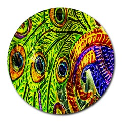 Glass Tile Peacock Feathers Round Mousepads