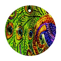 Glass Tile Peacock Feathers Ornament (Round)