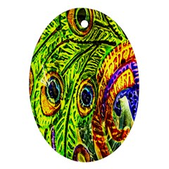 Glass Tile Peacock Feathers Ornament (oval)