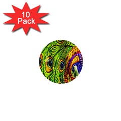 Glass Tile Peacock Feathers 1  Mini Buttons (10 pack)
