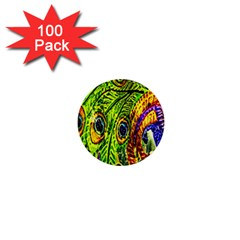Glass Tile Peacock Feathers 1  Mini Buttons (100 pack)