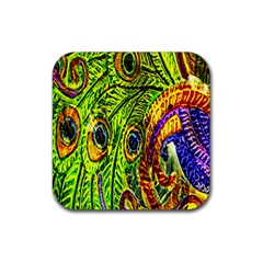 Glass Tile Peacock Feathers Rubber Coaster (square)