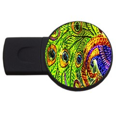 Glass Tile Peacock Feathers Usb Flash Drive Round (2 Gb)