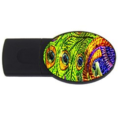 Glass Tile Peacock Feathers Usb Flash Drive Oval (2 Gb)