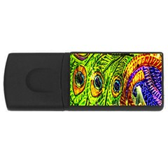 Glass Tile Peacock Feathers USB Flash Drive Rectangular (1 GB)