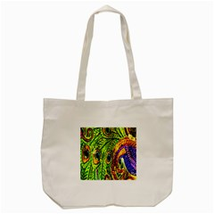 Glass Tile Peacock Feathers Tote Bag (cream)
