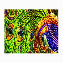Glass Tile Peacock Feathers Small Glasses Cloth