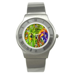 Glass Tile Peacock Feathers Stainless Steel Watch