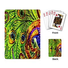 Glass Tile Peacock Feathers Playing Card
