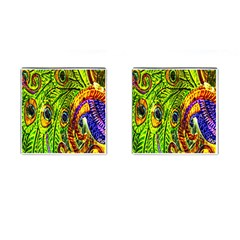 Glass Tile Peacock Feathers Cufflinks (Square)