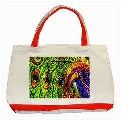 Glass Tile Peacock Feathers Classic Tote Bag (Red)