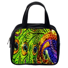Glass Tile Peacock Feathers Classic Handbags (one Side)