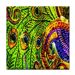 Glass Tile Peacock Feathers Face Towel