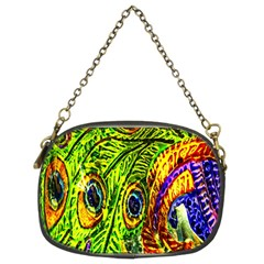 Glass Tile Peacock Feathers Chain Purses (two Sides)