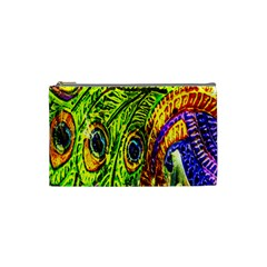 Glass Tile Peacock Feathers Cosmetic Bag (small)