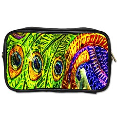 Glass Tile Peacock Feathers Toiletries Bags