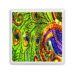 Glass Tile Peacock Feathers Memory Card Reader (square)