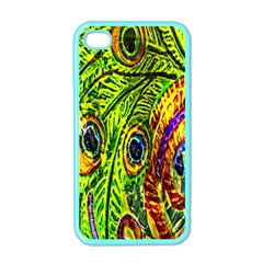 Glass Tile Peacock Feathers Apple Iphone 4 Case (color)