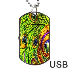 Glass Tile Peacock Feathers Dog Tag USB Flash (One Side)