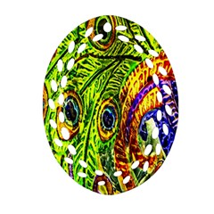 Glass Tile Peacock Feathers Ornament (oval Filigree)