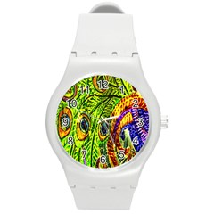 Glass Tile Peacock Feathers Round Plastic Sport Watch (M)
