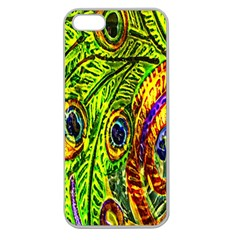 Glass Tile Peacock Feathers Apple Seamless iPhone 5 Case (Clear)