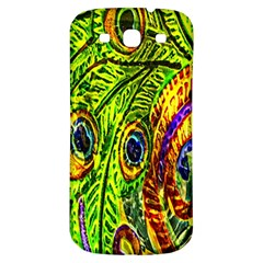 Glass Tile Peacock Feathers Samsung Galaxy S3 S III Classic Hardshell Back Case