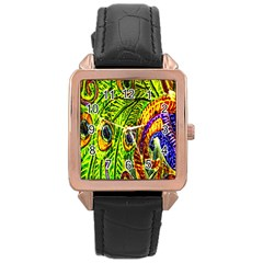 Glass Tile Peacock Feathers Rose Gold Leather Watch