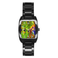 Glass Tile Peacock Feathers Stainless Steel Barrel Watch