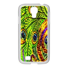 Glass Tile Peacock Feathers Samsung GALAXY S4 I9500/ I9505 Case (White)