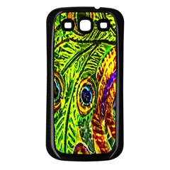 Glass Tile Peacock Feathers Samsung Galaxy S3 Back Case (Black)