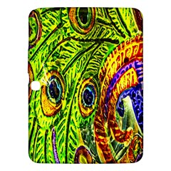 Glass Tile Peacock Feathers Samsung Galaxy Tab 3 (10.1 ) P5200 Hardshell Case