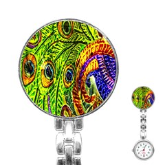 Glass Tile Peacock Feathers Stainless Steel Nurses Watch