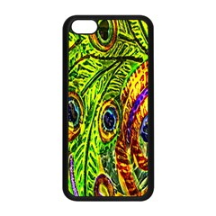 Glass Tile Peacock Feathers Apple iPhone 5C Seamless Case (Black)