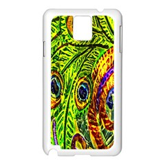 Glass Tile Peacock Feathers Samsung Galaxy Note 3 N9005 Case (White)