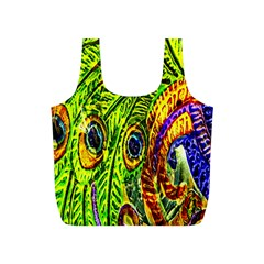 Glass Tile Peacock Feathers Full Print Recycle Bags (S)