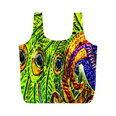 Glass Tile Peacock Feathers Full Print Recycle Bags (M)