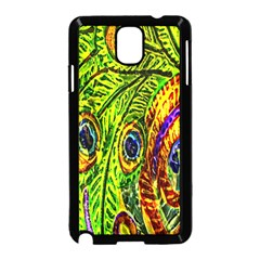 Glass Tile Peacock Feathers Samsung Galaxy Note 3 Neo Hardshell Case (Black)