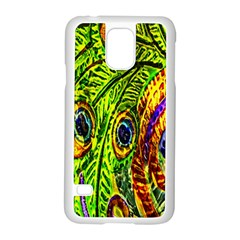 Glass Tile Peacock Feathers Samsung Galaxy S5 Case (White)