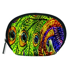 Glass Tile Peacock Feathers Accessory Pouches (Medium)